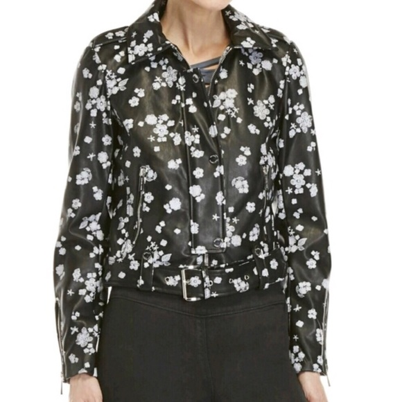 614fcbb7ef34 Michael Kors Faux Leather Black Floral Jacket